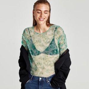 Zara sheer seafoam green long sleeved top, Size S